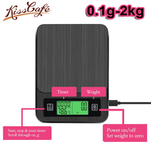 2kg / 0.1g Household Electric Scale Portable Drip Coffee Scale with Timer Electronic Weighing Bar Kitchen High Precision LCD laboratory balance scale 50g 0 001g high precision jewelry diamond gem lcd digital electronic scale counting function portable
