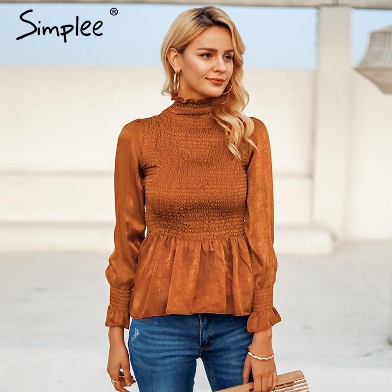 Simplee Elegant Ladies Women Blouse Flare Sleeve Ruffle Pleated Peplum Top Blouse Shirt Female Autumn Winter 2019 Women Blusas
