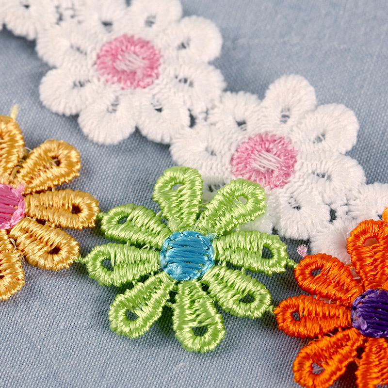 2 Meters Daisy Flower Lace Sewing Trim Embroidered Wedding Crafts DIY Ribbon