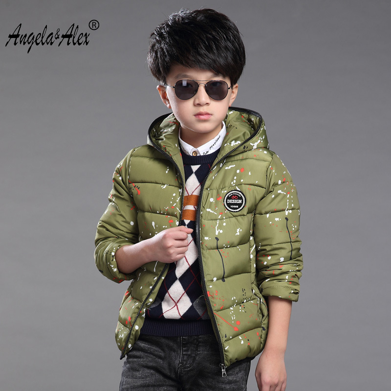 Angela&Alex 2017antumn and winter boys new fashion warm hooded jacket childs floral print snowsuit parkas for 4 colors laura childs tea for three