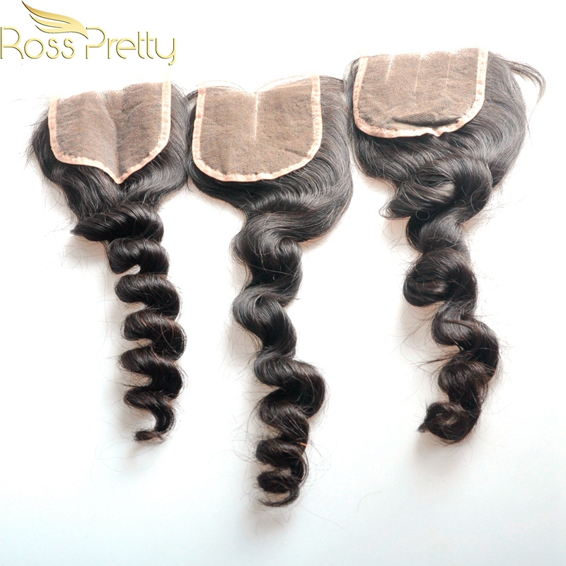 Fast Free Ship Brazilian Remy Hair Loose Wave Human Hair Lace Closure Natural Color Quality 4x4 Closure Ross Pretty Brand sale