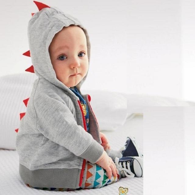 2016 Outono Nova Fashion Retail 6-24 M Bebê Hoodies 1 Peça Roupa Do Bebê Dinossauro Animal Bebê Menino Ssweatshirt Casaco bebê