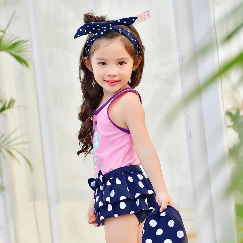 Ship  Dots Print Cute Little Girls Swimwear Children Kids -6010