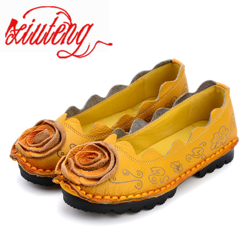 Xiuteng 2017 Handmade Genuine Leather Shoes flat Flowers Single Shoes National Wind Comfortable Soft Bottom Summer Peas Shoes new national wind flowers handmade genuine leather shoes women retro soft bottom flat shoes summer canvas ballet flats k62