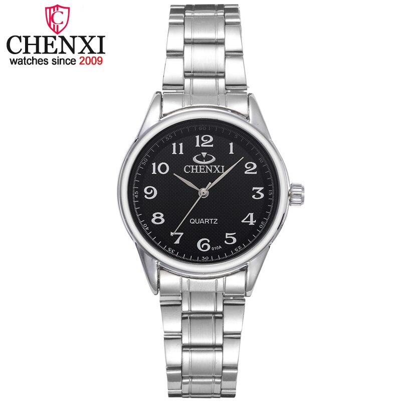 CHENXI Marca Clássico Relógio de Luxo Senhoras Relógios de Quartzo Moda Noble Presente Mulheres Relógio de Pulso de Aço Inoxidável Relógio Feminino Prata