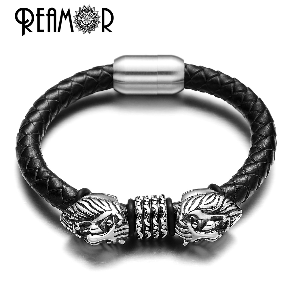 REAMOR 316L Stainless Steel 2017 Wild Style Men King of Lion Head Beads Genuine Braided Leather Bracelet with Magnet Clasp