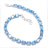 2017 Sale Qi Xuan_Free Mail Blue Stone Elegant Bracelets_S925 Solid Silver Fashion Blue Bracelets_Manufacturer Directly Sales