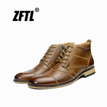 ZFTL New Men Martins Boots winter man ankle boots genuine leather male casual lace-up Bots large size mens handmade shoes  038