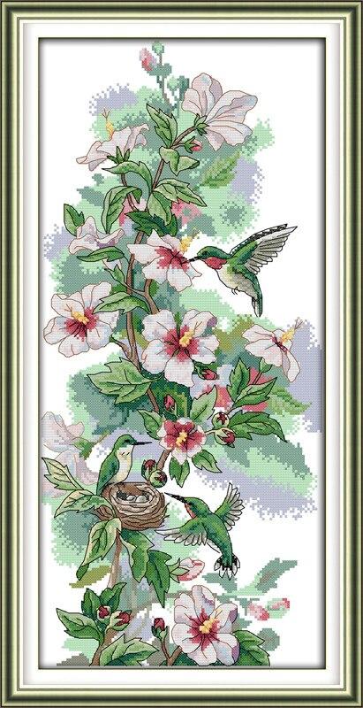 Hummingbird Art Animal Canvas DMC Cross Stitch Kit 100% Printed Embroidery DIY Handmade Needle Wall Set Home Decor Paintss
