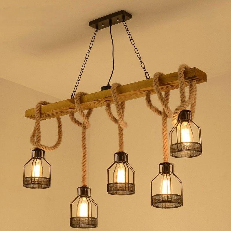 Américain rétro multi-têtes suspension lampe industrielle vent phare magasin de vêtements salon bar café créatif ficelle lustre