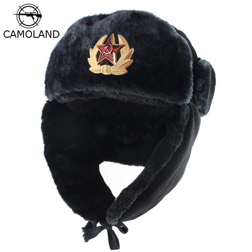 Soviet Army Military Badge Russia Ushanka Bomber Hats Pilot Trapper trooper Hat Winter Faux Rabbit Fur Earflap Men Snow Caps(China)