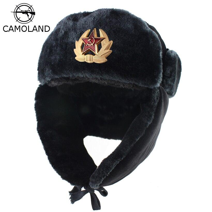 Militar Do Exército soviético Emblema Rússia Ushanka Bombardeiro Piloto Chapéus Earflap Trapper trooper Chapéu do Inverno Coelho da Pele Do Falso Dos Homens Tampas De Neve