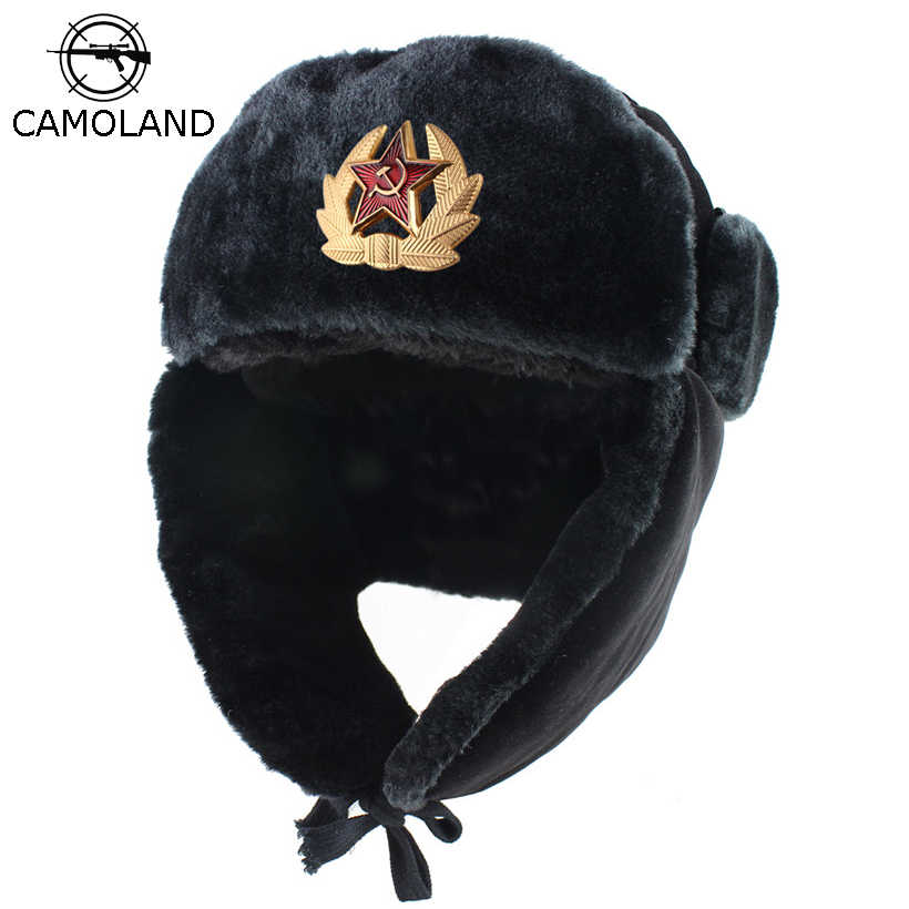 470a4e4e9 Soviet Army Military Badge Russia Ushanka Bomber Hats Pilot Trapper trooper  Hat Winter Faux Rabbit Fur Earflap Men Snow Caps