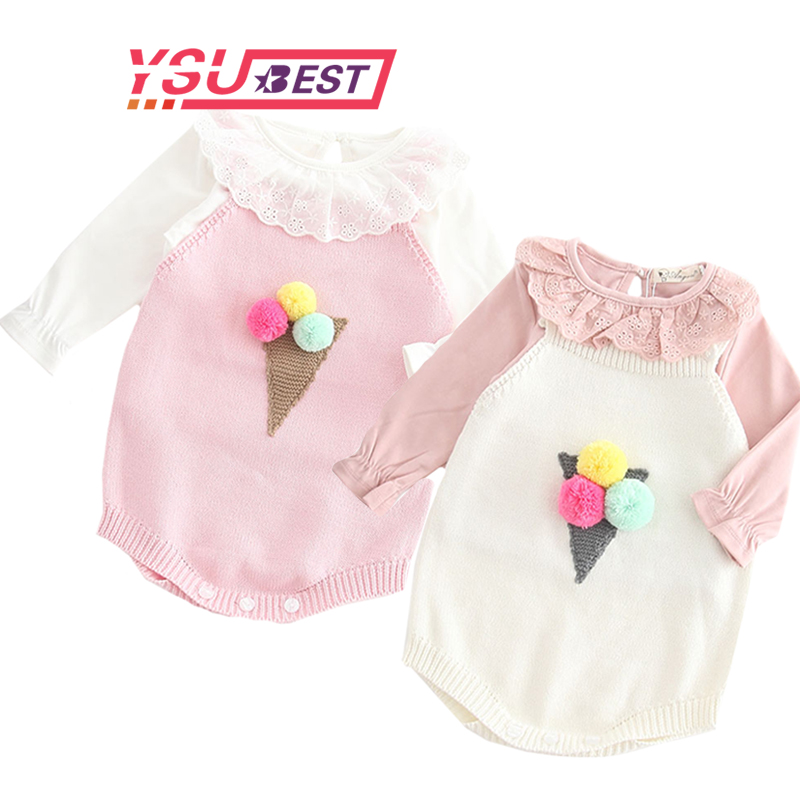 Fashion Knitted Baby   Romper   Girls Overalls Autumn Spring Toddler Jumpsuit Baby Girl Clothes Embroidered Ice Cream Style   Rompers