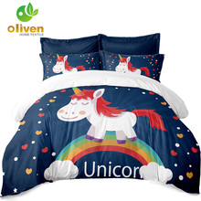 ФОТО unicorn bedding set multicolor cute cartoon duvet cover for kids pillowcase soft comfortable bedding outlet drop shipping a35