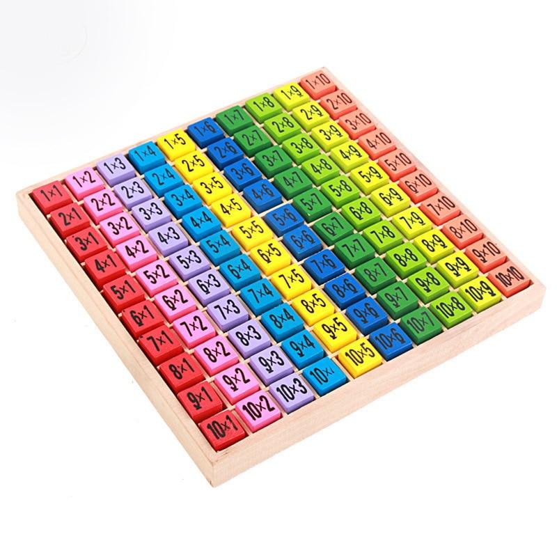 100 Stks Babys Math Speelgoed 10*10 Vermenigvuldiging Tafel Math Speelgoed 100 Houten Blok Leren Wiskunde Educatief Speelgoed Speelgoed Voor Kids