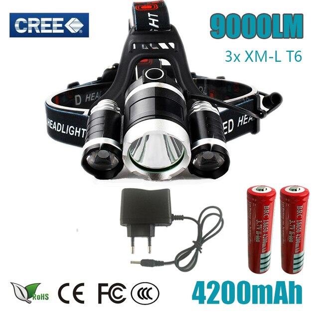 DZ30  HEAD Torch 3 T6 9000LM 3  XM-L T6  LED Headlight 9000 Lumen Head Lamp frontal Flashlight Headlamp for battery AC charger
