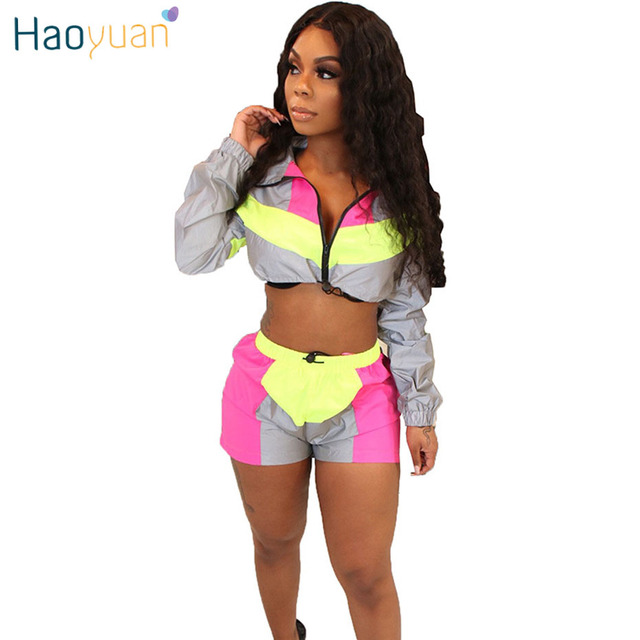 e6442e71bd1 HAOYUAN 2 Two Piece Set Women Summer Clothes Festival Crop Top and Biker  Shorts Suit Sexy Club Outfits Tracksuit Matching Sets