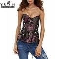 Yi ran shi ni elegante body shaping corsets mulheres underwear Painel de Malha de Tamanho grande Contraste Inserção Espartilho De Couro Preto com tanga