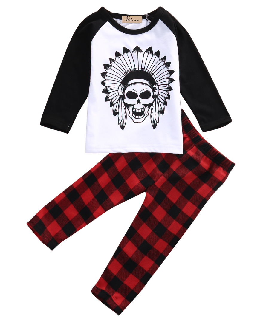 Autumn Newborn Toddler Infant Baby Boys Girls Clothes Long Sleeve Skull Cotton Clothes +Plaid Long Pants Outfits Set
