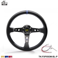 Hubsports 350MM PVC Drifting Sport Racing Steering Wheel Horn Button Aluminum Frame Color Yellow Red Blue