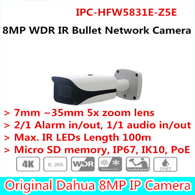 Brand English version New Arriving cameras 8MP WDR IR Bullet Network Camera Without Logo IPC-HFW5831E-Z5E free DHL shipping стоимость