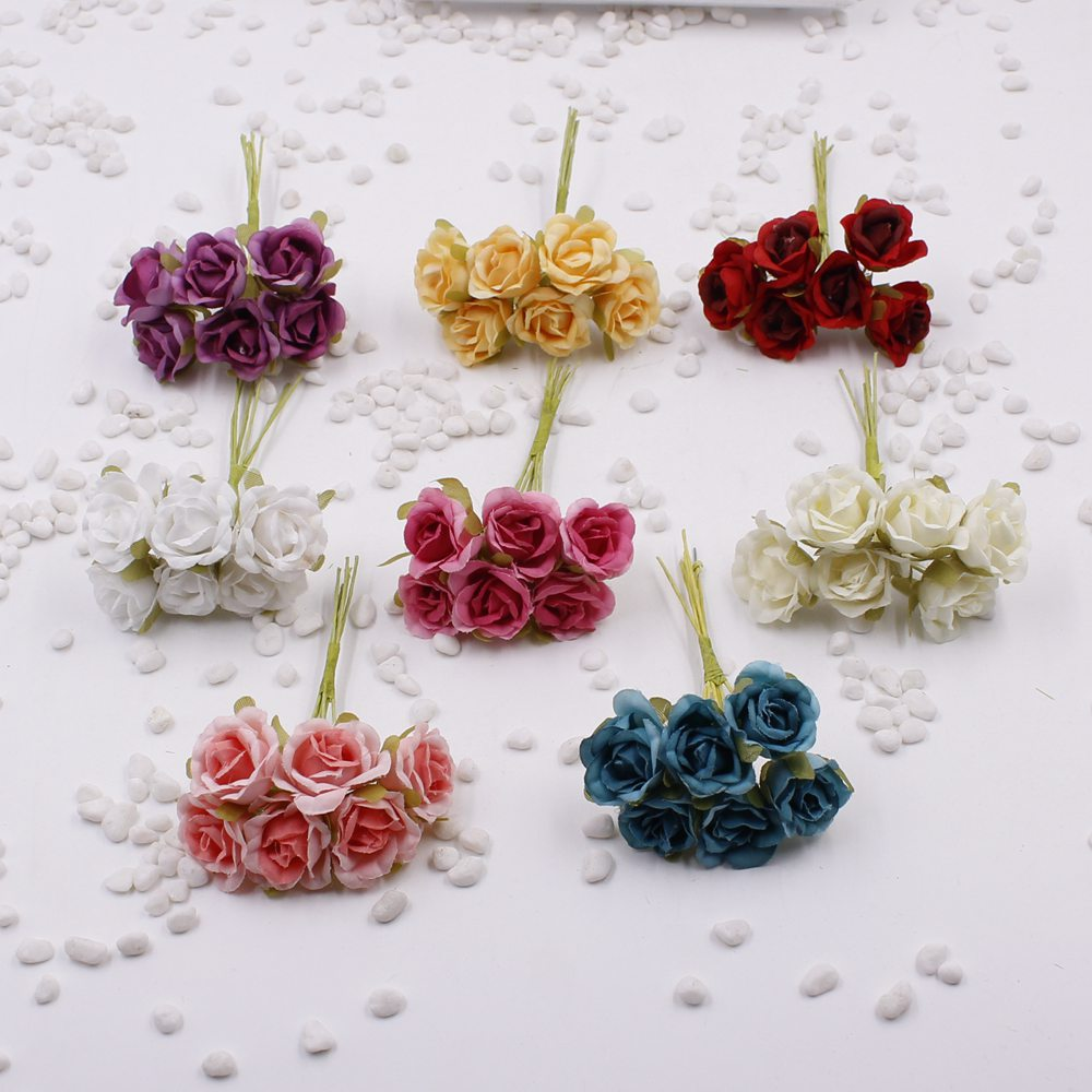New 6pcs lot 2cm silk gradient mini rose artificial flower for Artificial flower for wedding decoration
