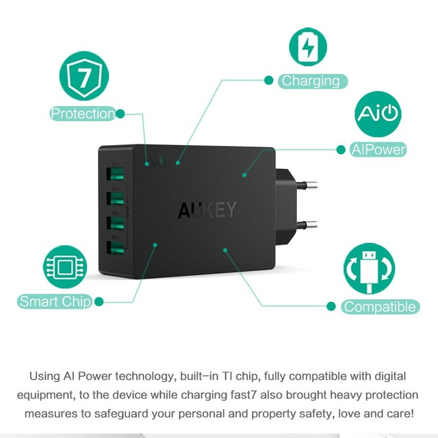 AUKEY Universal 4 Ports USB Charger Travel Wall Charger Adapter For iPhone7 Samsung S6 Smart Phones /PC/Mp3& USB Mobile Devices