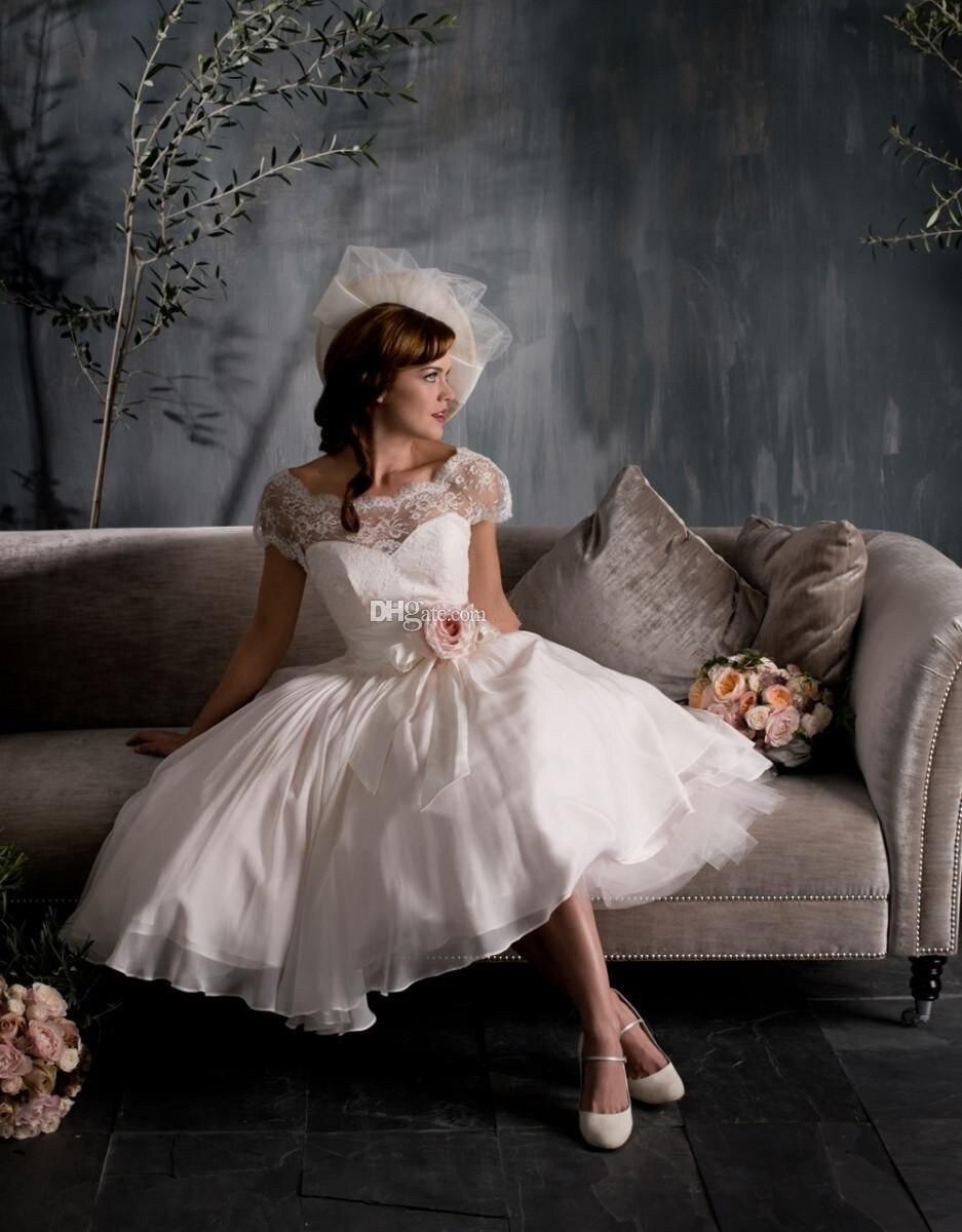 2017 beautiful church wedding dresses a line tea length for Dresses for church wedding