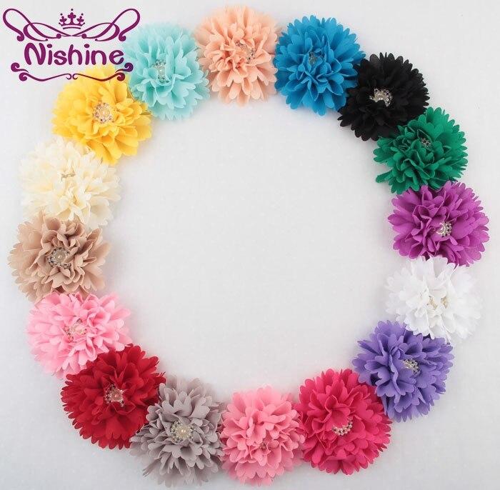 Nishine 100pcs lot 3 6 Peony Fabric Flower With Pearl Rhinestone Button Center For DIY Headband
