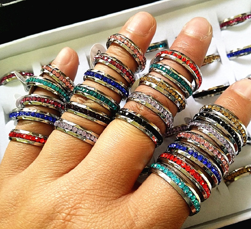 wholesale 100PCs Mix Colors Full Circle Rhinestone 1 Row Stainless Steel Fashion Jewelry Rings