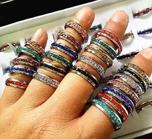 Оптовая продажа 100 шт смешанные цвета полный круг горный хрусталь 1 ряд нержавеющая сталь модные ювелирные изделия кольца