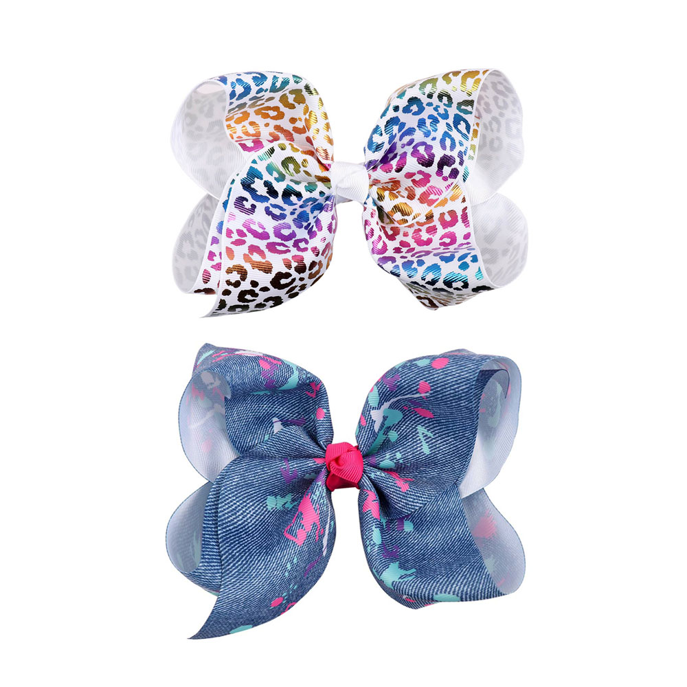 7 Girls Glitter Hearts Printed Ribbon Hair Bows Handmade Hair Clips Rainbow Jumbo Denim Bow For Kids Hair Accessories