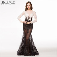 Real Picture Sheer Long Sleeve Evening Dresses Long Fitted Black Lace Evening Gown Islamic Formal Dresses Robe de Soiree 2016