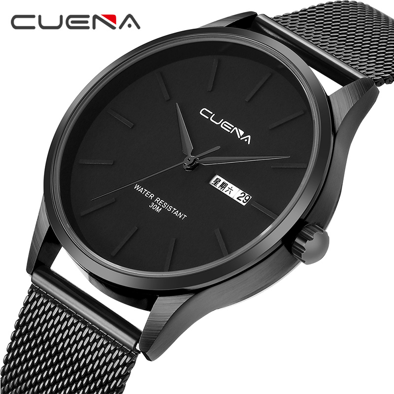CUENA Quartz Watches Men Luxury Brand Stainless Steel Waterproof Men's Wrist Watches Men Fashion Watch 2018 Relogio Masculino onlyou brand luxury fashion watches women men quartz watch high quality stainless steel wristwatches ladies dress watch 8892
