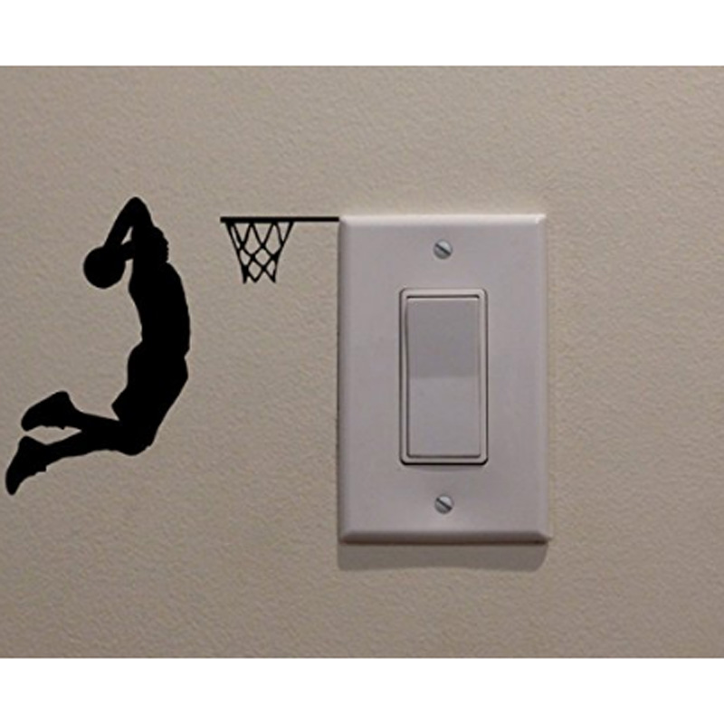 Basketball Player Fashion Creative Vinyl Switch Sticker Decoration Bedroom Wall Decal 5WS0072(China)
