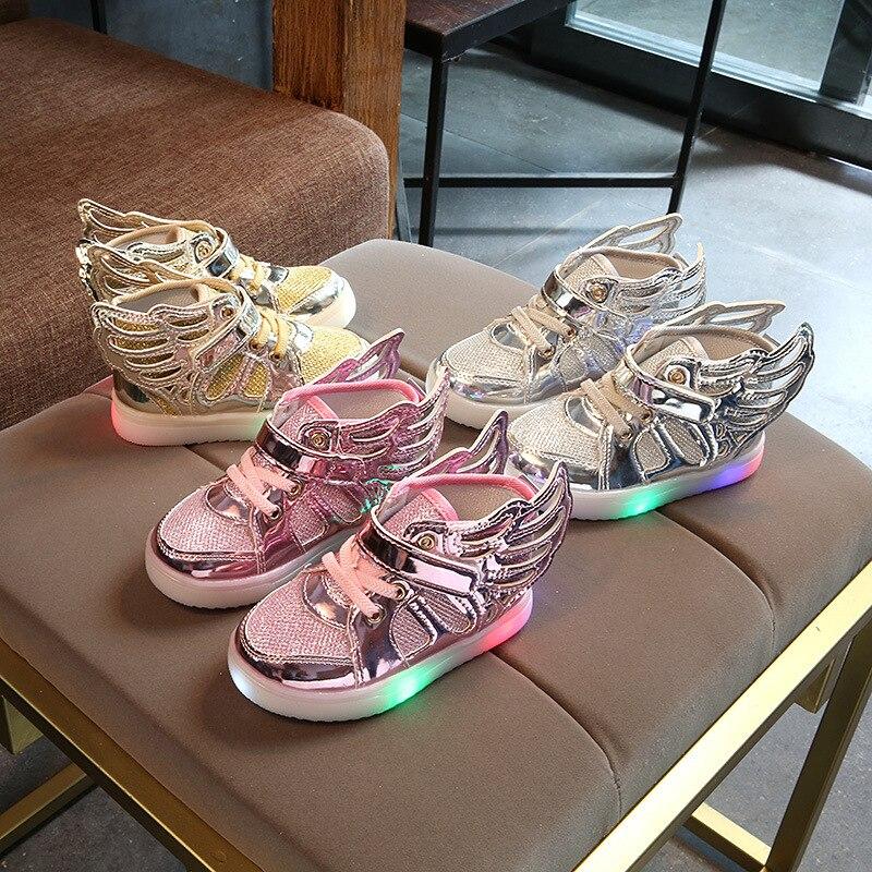 Chico zapatos de las muchachas de los niños luminoso de la zapatilla de deporte de invierno de 2018 brillante zapatillas de deporte para las chicas cesta Led para chico s tenis infantil