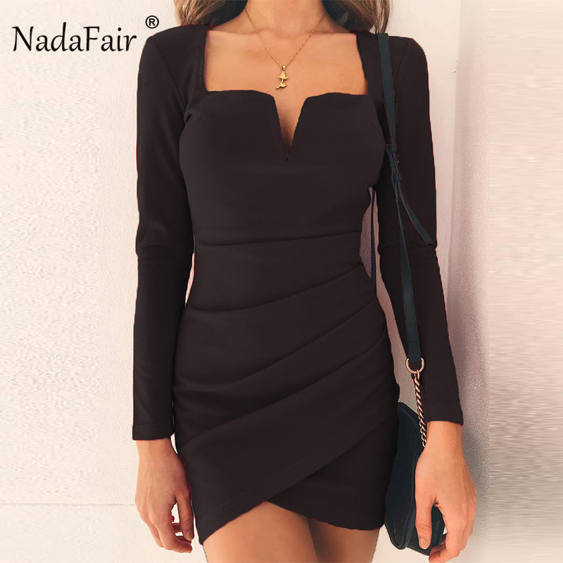 9cea8f4040 US $11.58 20% OFF|Nadafair V Neck Backless Sexy Club Dress Women Clubwear  Autumn/Winter Long Sleeve Mini Party Bodycon Dress Red Black-in Dresses  from ...