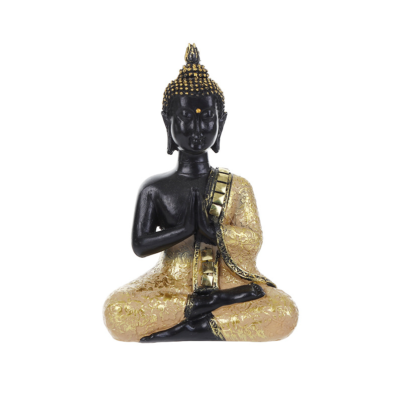 Exquisite Thai Buddha Statue Praying Sitting Meditating Figurine Sculpture Feng Shui Ornaments Crafts For Home Offfice Decor