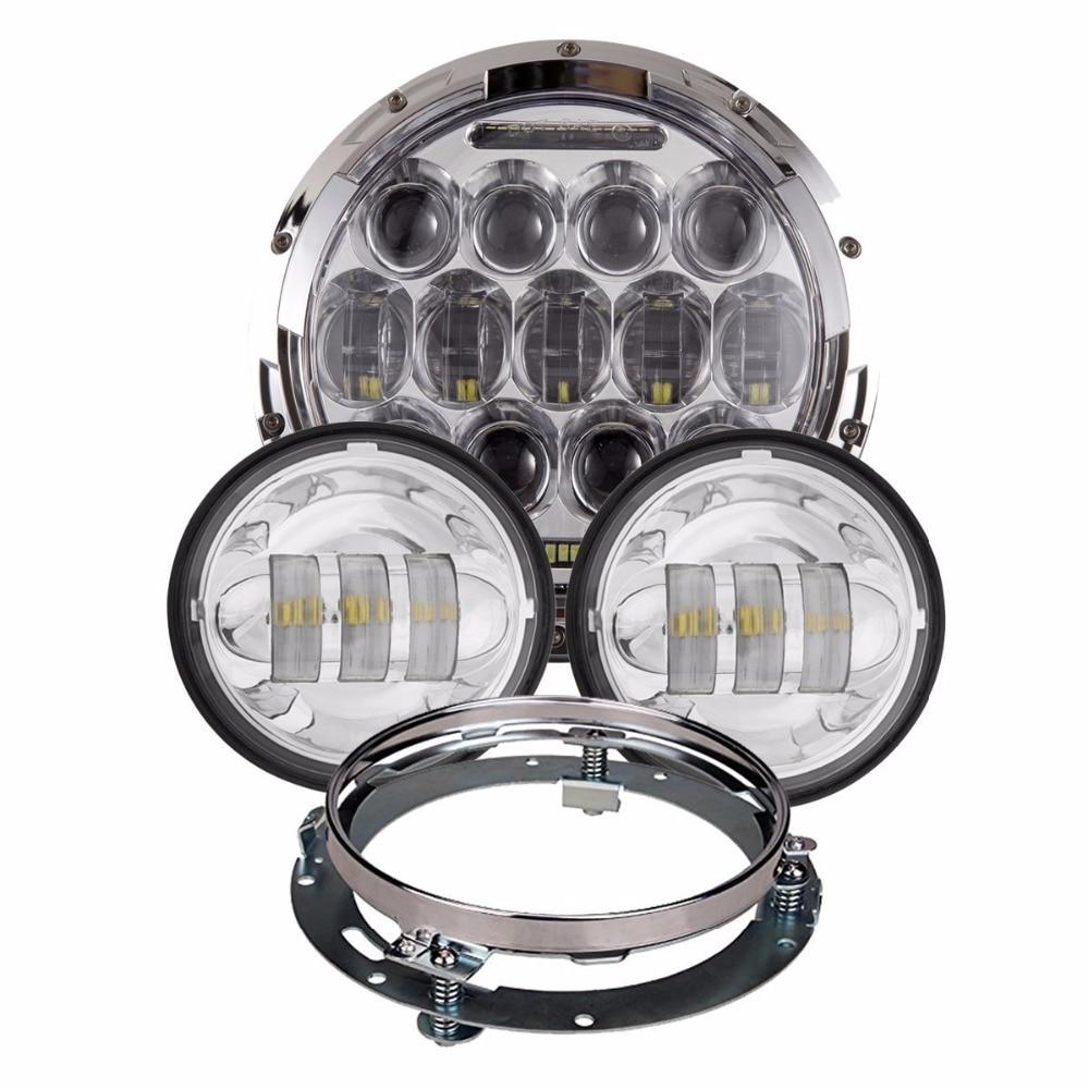 4шт/набор серебро 7 дюймов 75 Вт светодиодные фары плюс 4,5 дюйма светодиодные Противотуманные лампы плюс 7-дюймовый фары Кронштейн кольцо для Harley