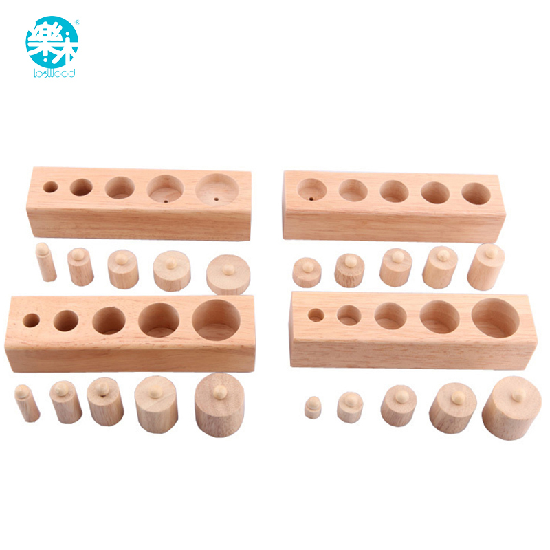 LOGO WOOD Wooden font b toys b font Montessori Educational Cylinder Socket Blocks font b Toy