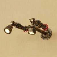 Double Head Loft Industrial LED Wall Light Fixtures Iron Vintage Rotate Water Pipe Wall Lamp Bedside Sconce Indoor Lighting|LED Indoor Wall Lamps|Lights & Lighting -