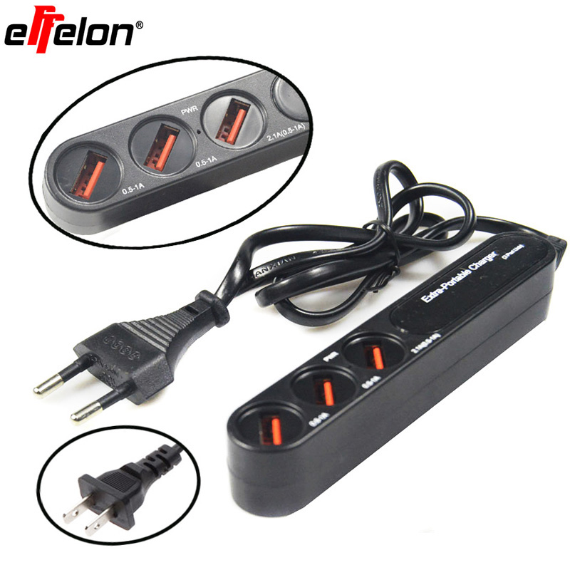Effelon EU/US 3 USB Travel Charger 3A For iPad 2 3 4 5 Charger USB 3 in 1 Port For iPad <