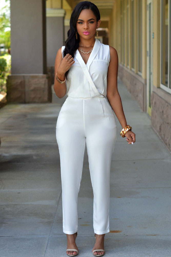 78cef3a9e28 2015 Spring Summer Women Slim Turn Down Collar Jumpsuit Sleeveless V Neck  Long Romper Ladies White Formal Jumpsuit Elegant 60714 on Aliexpress.com