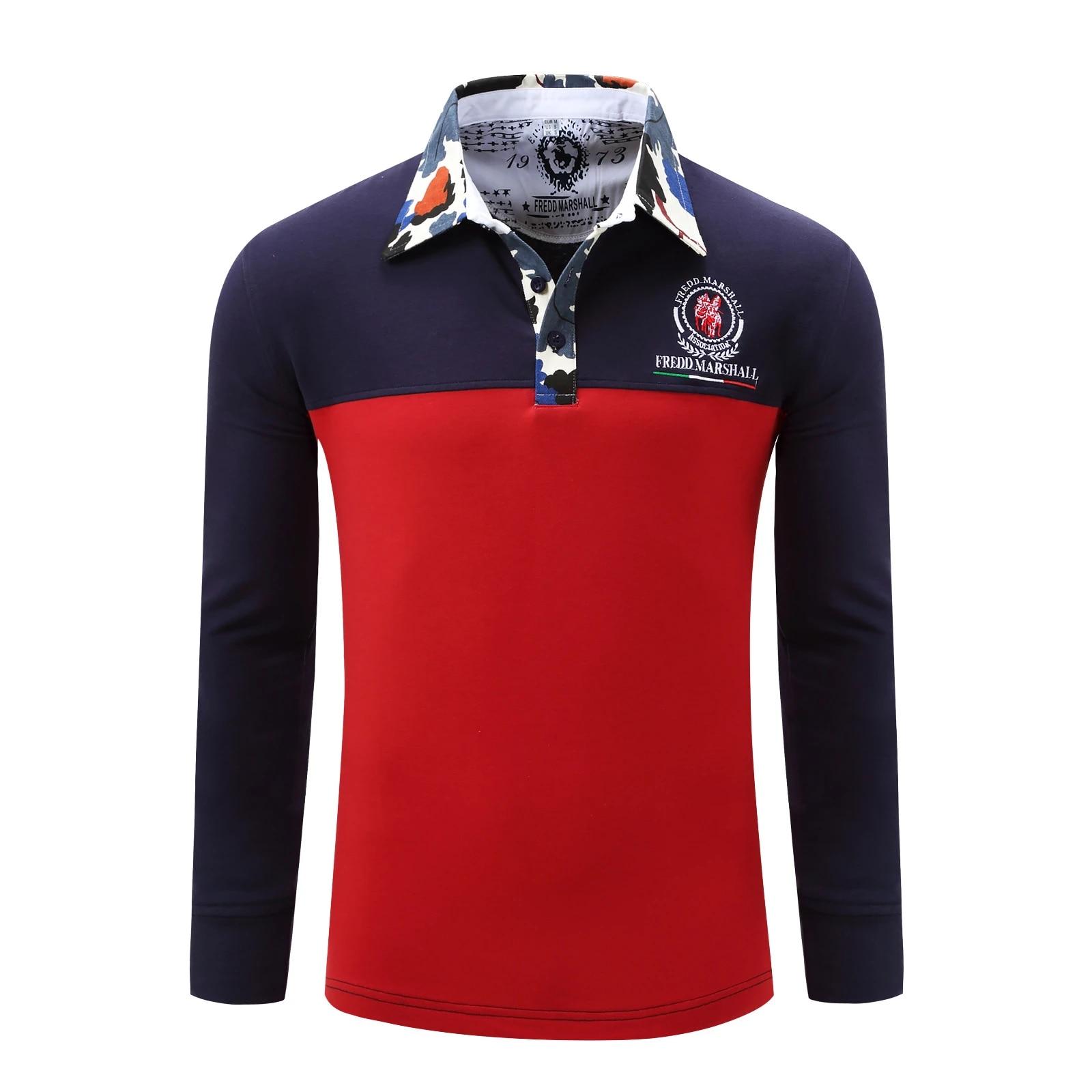 Fredd Marshall Mens Polo Shirt Designer Brands 2017 Man Long Sleeve Fashion Casual Polo Shirts Slim Fit Button Polos Men 059