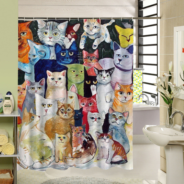 2017 New Cute Cat Shower Curtain Custom Cartoon Pattern 3d Print Bathroom For Kids Waterproof Polyester Fabric Liner
