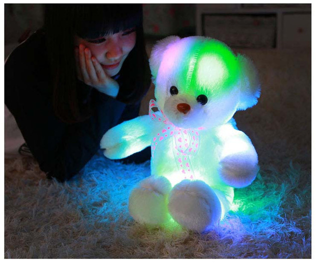 Knuffel Met Licht : Kleurrijke gloeiende soft gevulde knuffel beer kussen knipperende