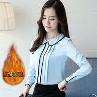 2017 New Autumn Women Shirts Peter Pan Collar Add Wool Chiffon Short Blouse Shirt White Blue