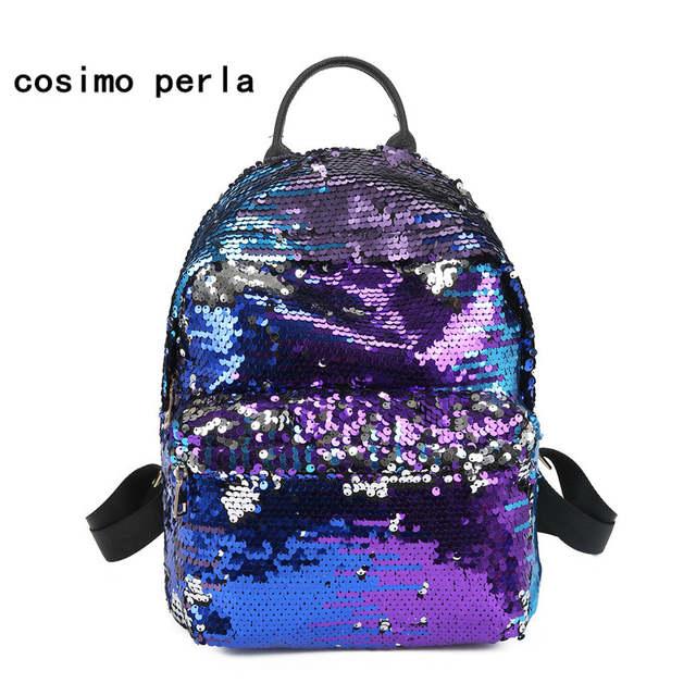 Girl's Heart Shaped Reversible Rainbow Sequins Sparkling Backpack Rucksack Bag