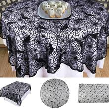 Black Bat Pattern Halloween Round Rectangle Tablecloth Table Cover Black  Lace Tablecloth Decoration Holiday Party Supplies